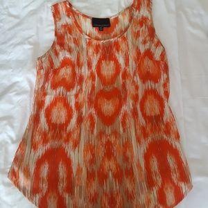 Cynthia Rowley orange ikat sleeveless top xs